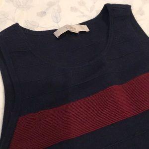 LOFT Dresses - Navy & Burgundy Stripe Dress by Loft